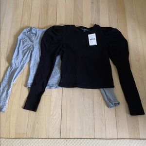 Bundle of 2 cropped puff sleeve tops XS